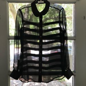 Black Sheer Silk Chiffon Equipment Blouse
